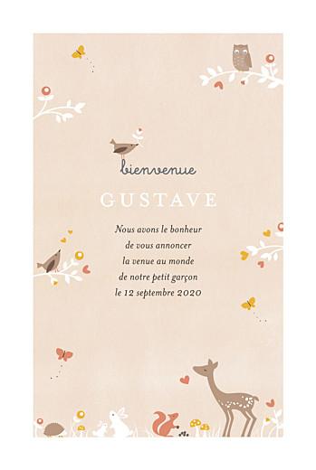 Faire-part de naissance Forêt enchantée beige