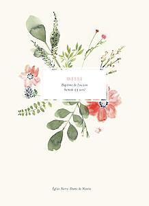 Livret de messe rouge fleurs aquarelle crème
