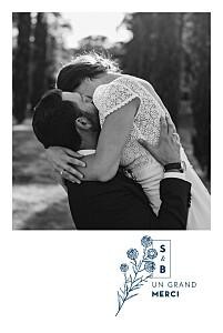 Carte de remerciement mariage tomoë  laure de sagazan bleu marine
