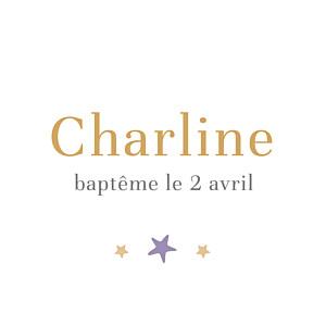 Etiquette de baptême violet liberty étoile violet
