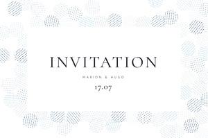 Carton d'invitation mariage traditionnel sequins bleu