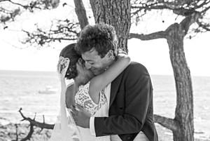 Carte de remerciement mariage vintage polka kraft
