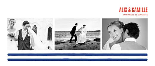 Carte de remerciement mariage Marinière 3 photos bleu marine