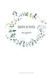 Menu de baptême fille bouquet sauvage violet