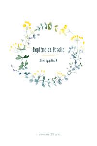 Menu de baptême jaune bouquet sauvage jaune