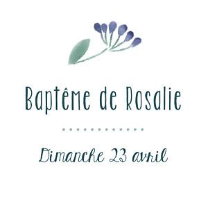 Etiquette de baptême rose bouquet sauvage violet