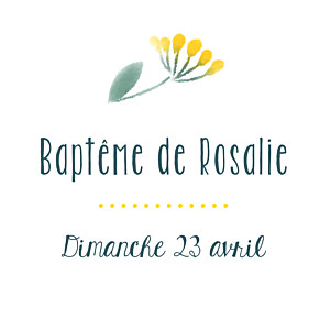 Etiquette de baptême jaune bouquet sauvage jaune