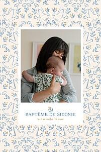 Faire-part de baptême avec photo l'envolée beige