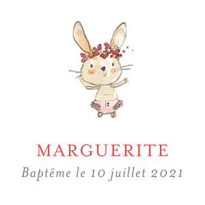 Etiquette de baptême rose petits lapins rose