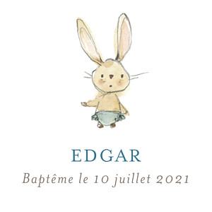 Etiquette de baptême bleu petits lapins bleu