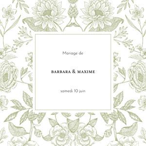 Faire-part de mariage classique psyché (4 pages) vert