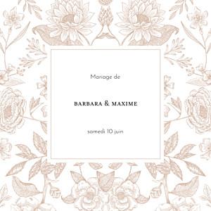 Faire-part de mariage rose psyché (4 pages) rose