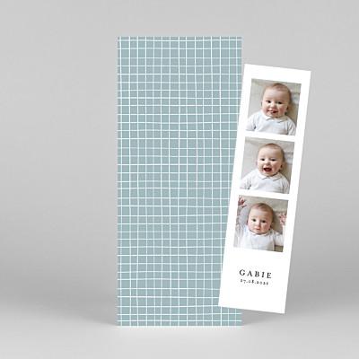 Faire-part de naissance tendance catelle (marque-page) bleu