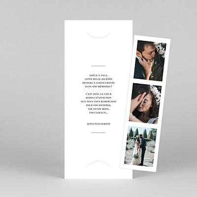 Carte de remerciement mariage original moderne chic (marque-page) blanc