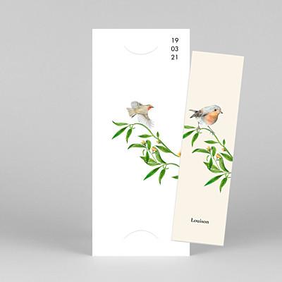 Faire-part de naissance nature mélopée (marque-page) blanc