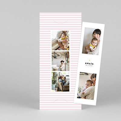 Faire-part de naissance design rayures pastel (marque-page) rose