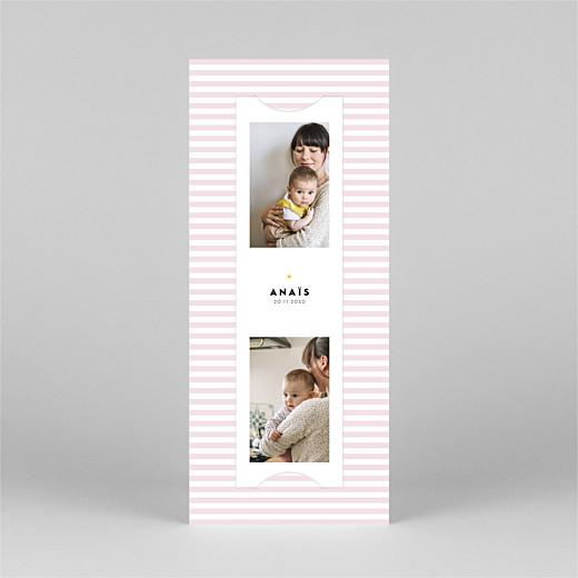 Faire-part de naissance Rayures pastel (marque-page) rose - Vue 2