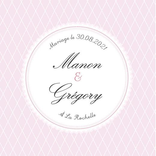 Etiquette perforée mariage Gourmand raffiné rose