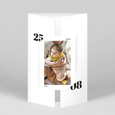 Faire-part de naissance design intemporel (fenêtre portrait) blanc