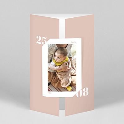 Faire-part de naissance rose intemporel (fenêtre portrait) rose