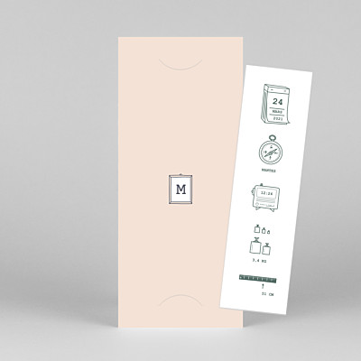 Faire-part de naissance design ruban pictos (marque-page) rose