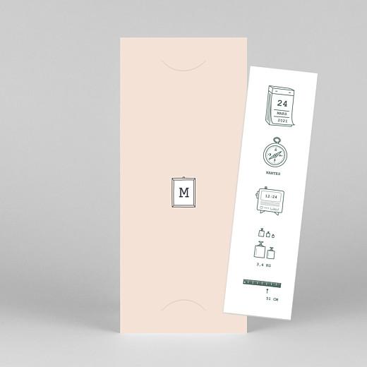 Faire-part de naissance Ruban pictos (marque-page) rose - Vue 1
