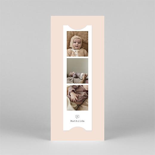 Faire-part de naissance Ruban pictos (marque-page) rose - Vue 3
