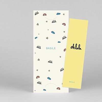 Faire-part de naissance design ohlala by mathilde cabanas (marque-page) jaune bleu