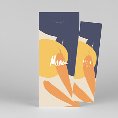 Carte de remerciement mariage original merci by mathilde cabanas (marque-page) orange
