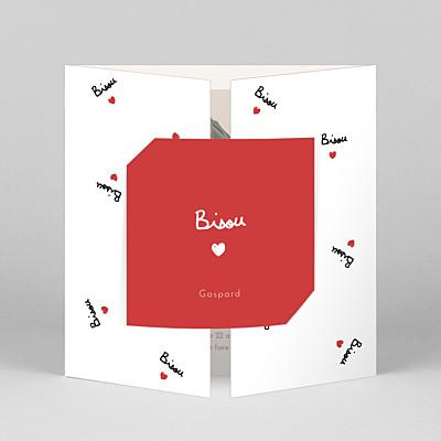 Faire-part de naissance tendance bisou by mathilde cabanas (fenêtre) rouge