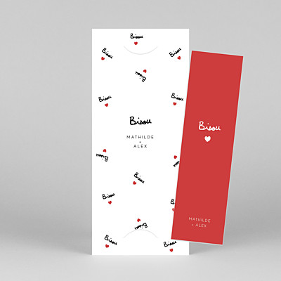 Save the date bisou by mathilde cabanas (marque-page) rouge