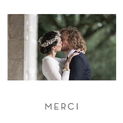 Carte de remerciement mariage Petit élégant cœur (dorure) blanc finition