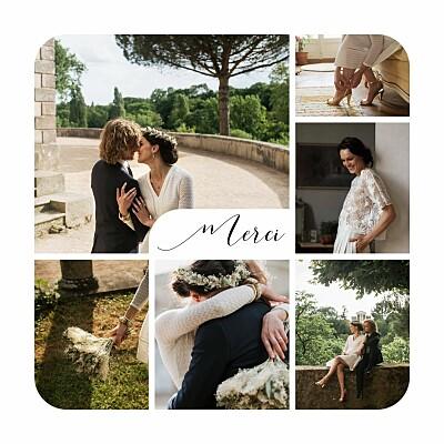 Carte de remerciement mariage Tendre innocence (photos) blanc finition