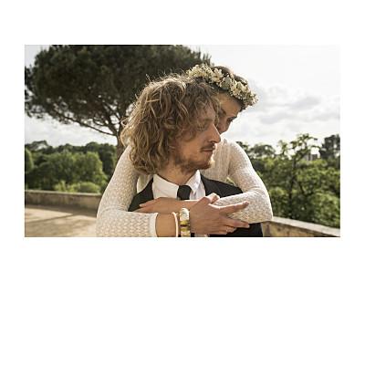 Carte de remerciement mariage Simple 1 photo (dorure) blanc finition