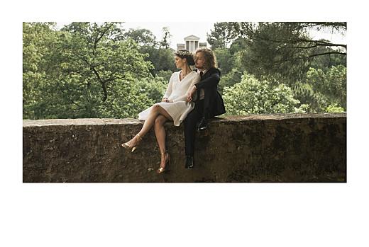 Carte de remerciement mariage Simple 1 photo paysage (dorure) blanc