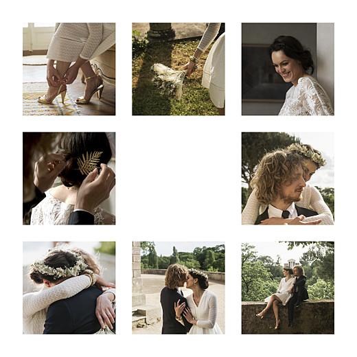 Carte de remerciement mariage Simple 8 photos (dorure) blanc