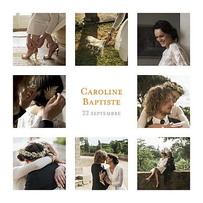 Carte de remerciement mariage Simple 8 photos blanc finition