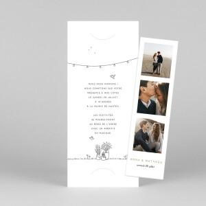 Faire-part de mariage Promesse bohème (marque-page) blanc