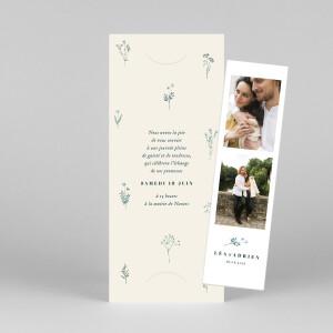 Faire-part de mariage Herbier (marque-page) beige