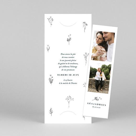 Faire-part de mariage Herbier (marque-page) blanc - Vue 1