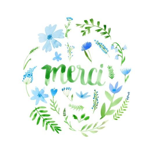Carte de remerciement Alphabet fleuri bleu