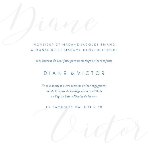 Faire-part de mariage Calligraphie bleu
