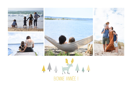 Carte de voeux Renne scandinave 4 photos blanc