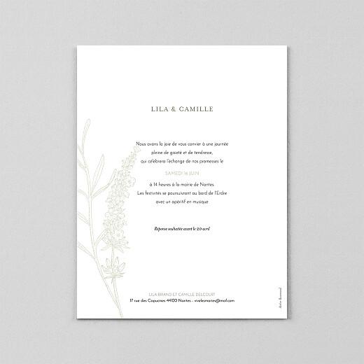Faire-part de mariage Botanique portrait (calque) vert - Vue 3
