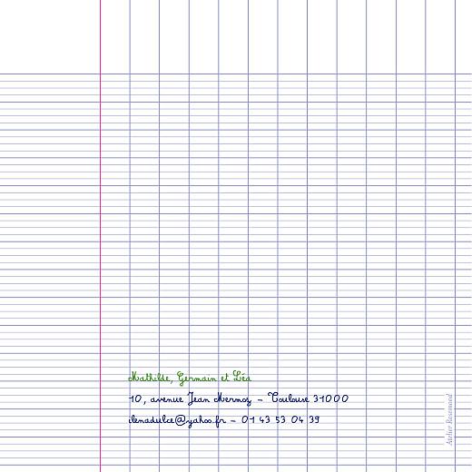 Faire-part de naissance Cahier d'écolier blanc - Page 2