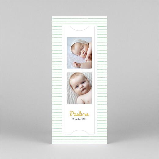 Faire-part de naissance Petits bols (marque-page) (3 enfants) vert - Vue 3