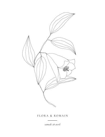 Faire-part de mariage Poésie amoureuse (portrait) blanc