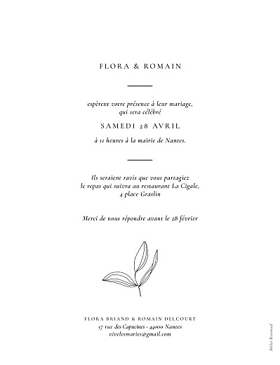 Faire-part de mariage Poésie amoureuse (portrait) blanc - Page 2