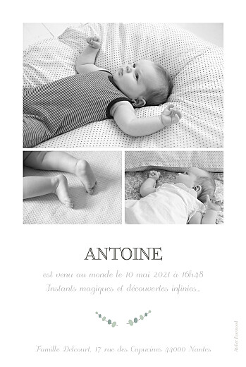 Faire-part de naissance Girafe 4 photos rv blanc - Page 2