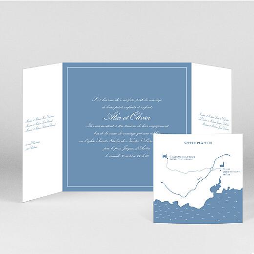 Faire-part de mariage Chic liseré (fenêtre) bleu - Vue 2